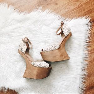 Jeffrey Campbell | Straight Up Lace Wood Wedge